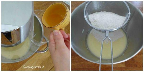aggiungere olio farina e lievito