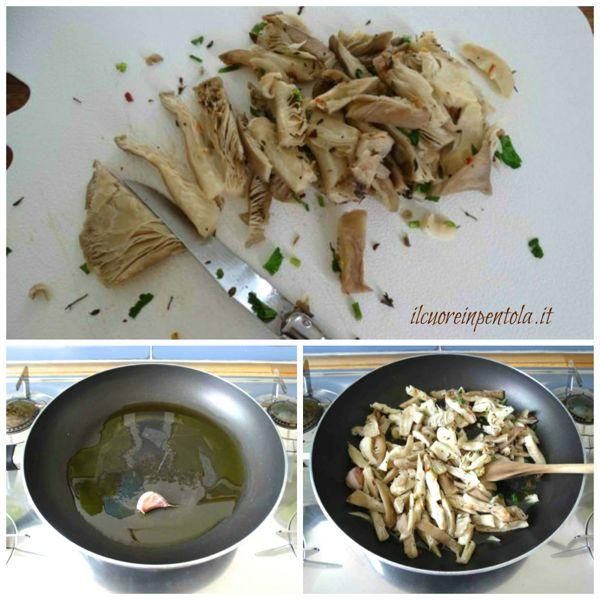 soffriggere aglio e aggiungere funghi