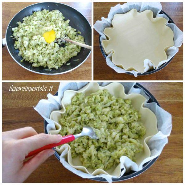 aggiungere uovo e versare nella sfoglia