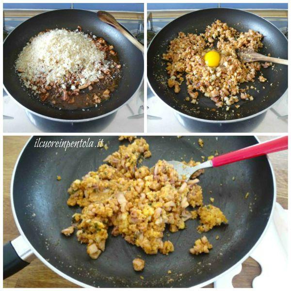 aggiungere pancarre e uovo