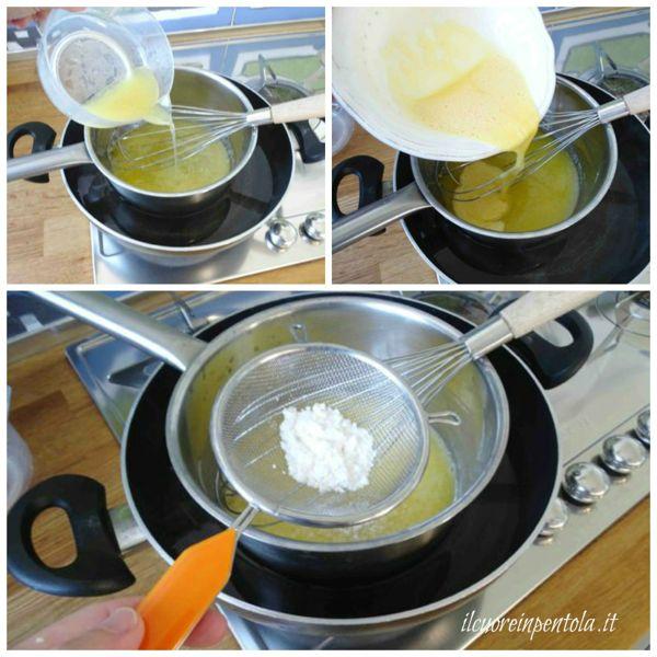 aggiungere succo di limone e uova