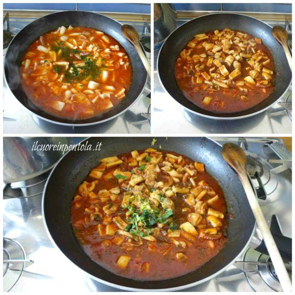 cuocere sugo e aggiungere aromi