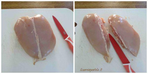 dividere petto di pollo