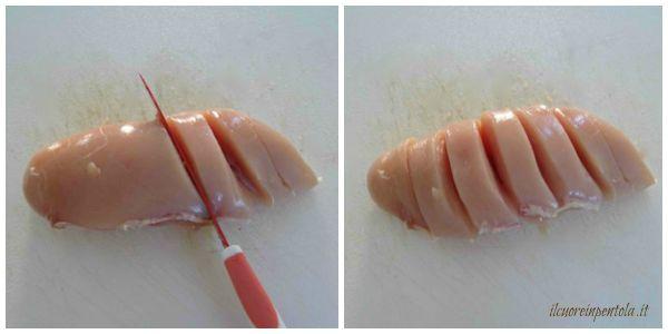 realizzare incisioni sul petto di pollo