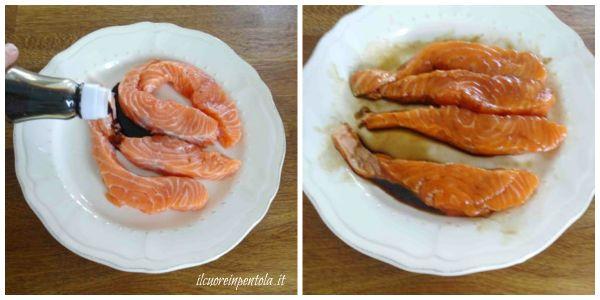 pulire e salmone e metterlo a marinare
