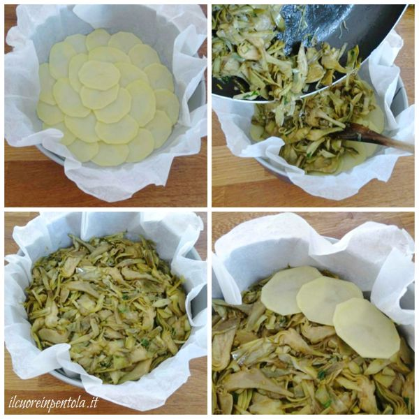 realizzare strato di patate e carciofi