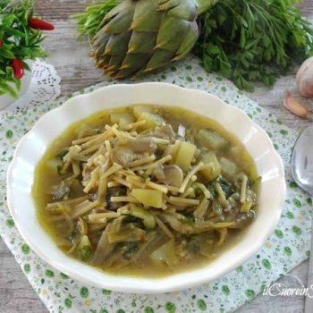 minestra di carciofi patate e piselli