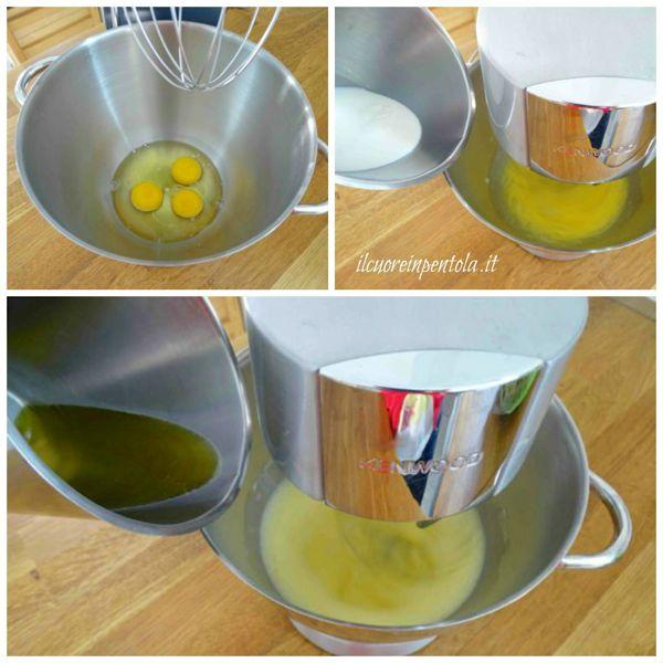 sbattere uova e aggiungere latte e olio