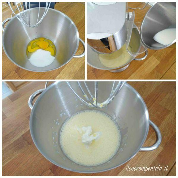 montare uova e aggiungere latte e mascarpone