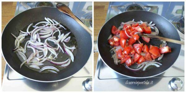 soffriggere cipolla e aggiungere pomodoro