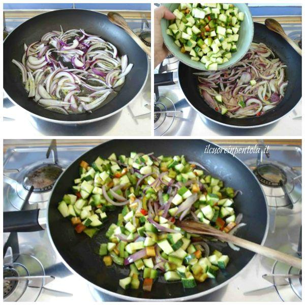 soffriggere cipolla e aggiungere verdure