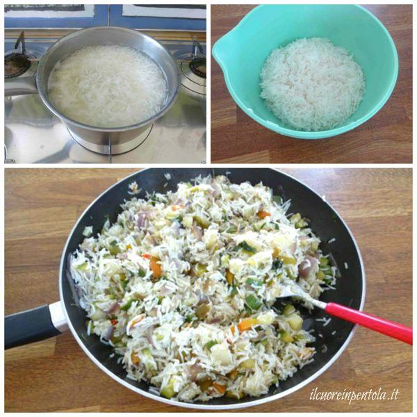 mescolare riso e verdure