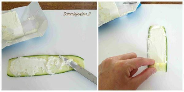 farcire e arrotolare zucchine