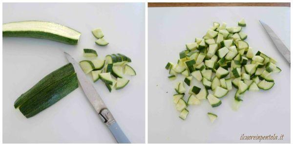 tagliare zucchine e cubetti