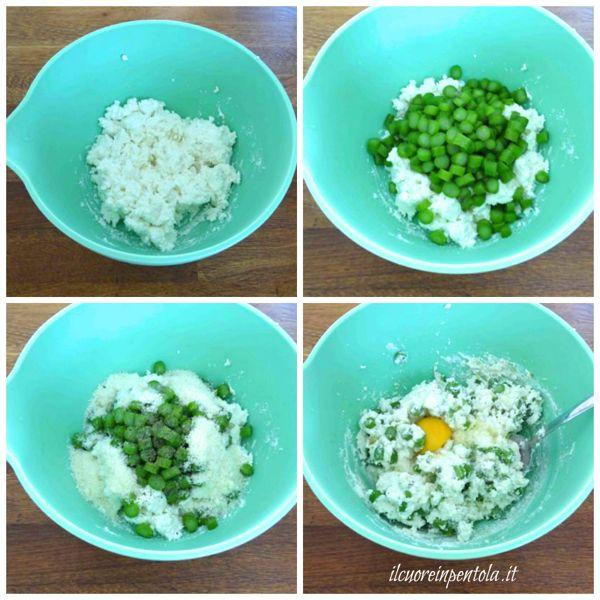 preparare ripieno con ricotta e asparagi