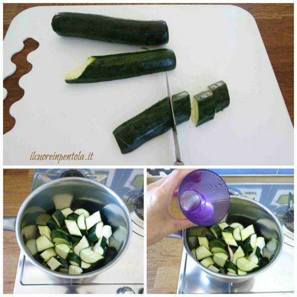 pulire e tagliare zucchine