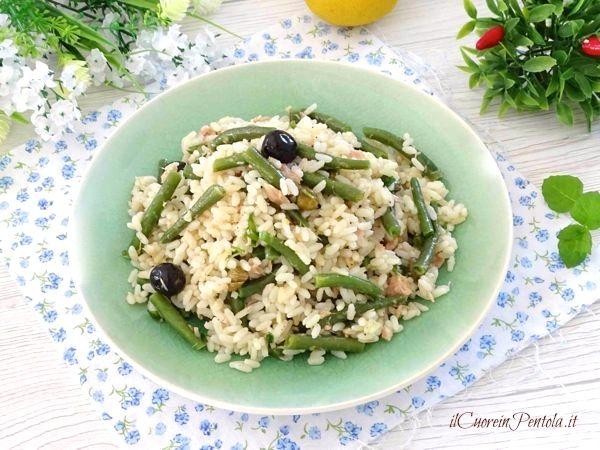 insalata di riso con tonno e fagiolini
