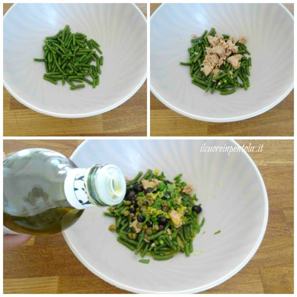 aggiungere tonno olive e capperi