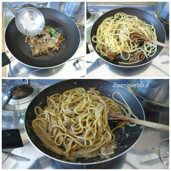 mantecare pasta con pesto di melanzane
