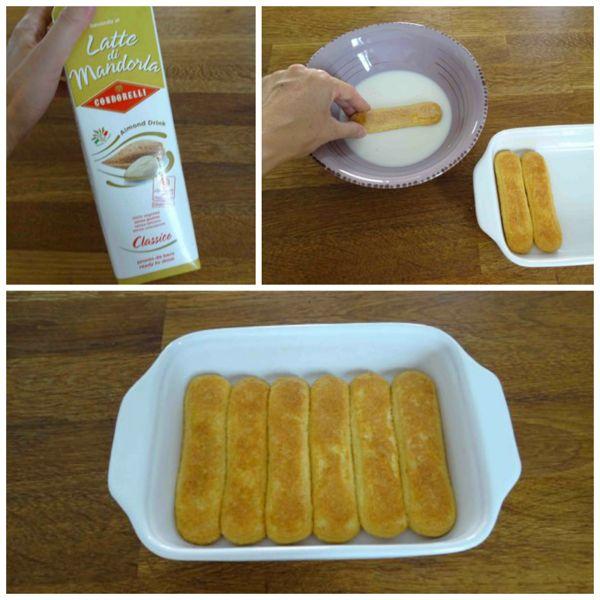 inzuppare savoiardi nel latte di mandorle