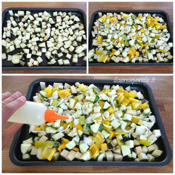 mettere verdure in una teglia