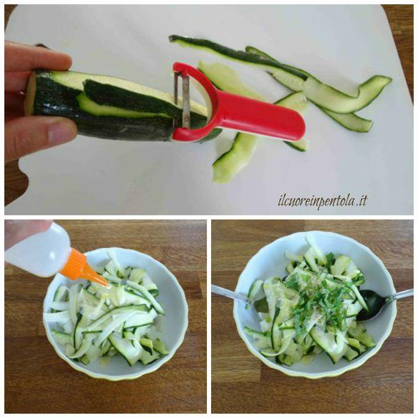 pelare e condire zucchine