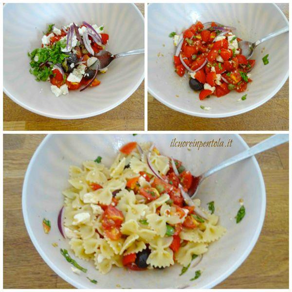 aggiungere feta olive capperi e cipolla