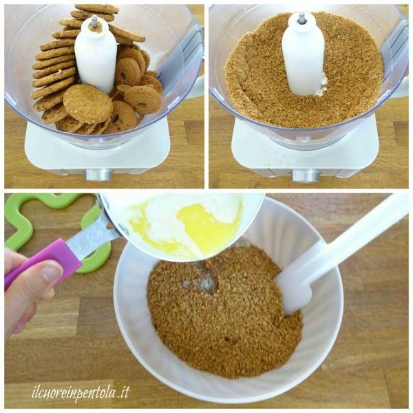 sbriciolare biscotti e aggiungere burro