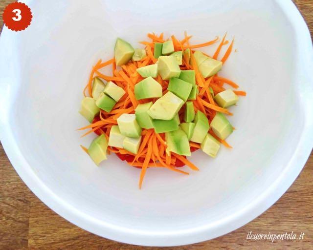 tagliare pomodori e avocado