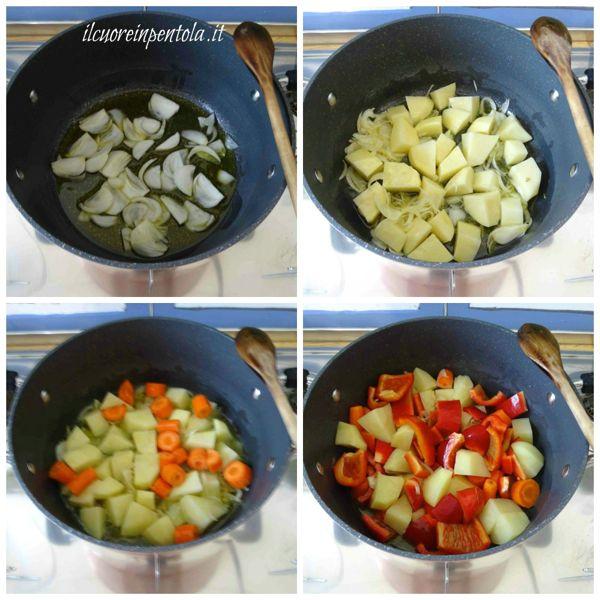 soffriggere cipolla e aggiungere patata carote e peperoni