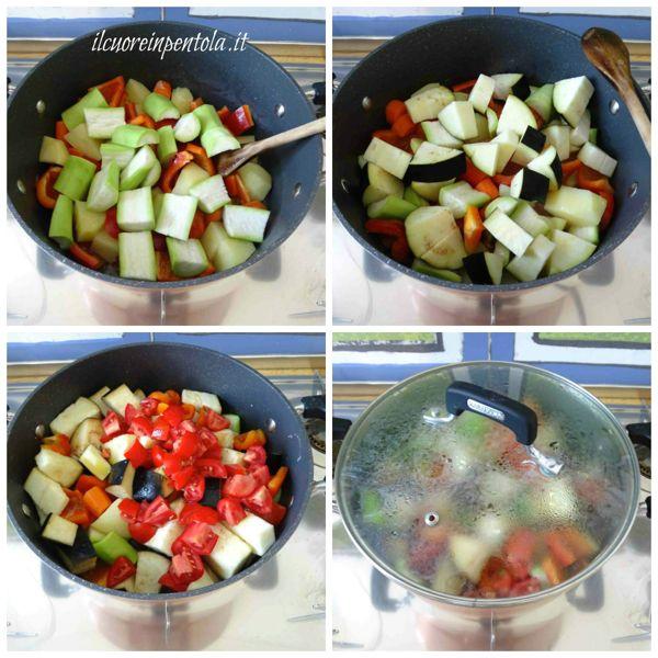 aggiungere zucchine, melanzane e pomodori
