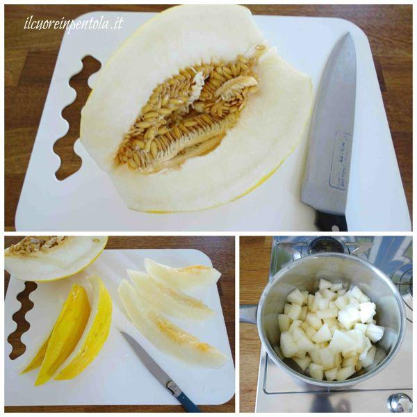 pulire e tagliare melone
