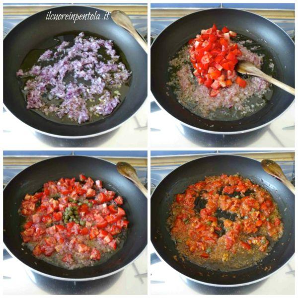soffriggere cipolla e aggiungere pomodori e capperi