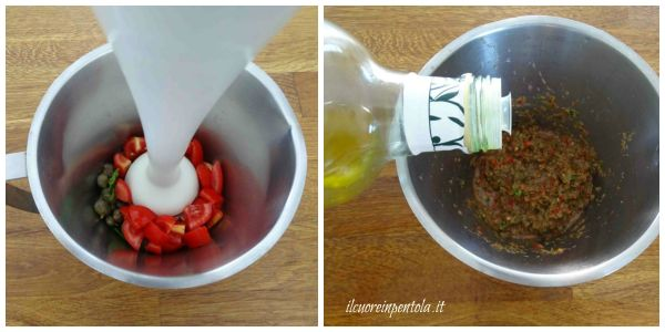 frullare e aggiungere olio d'oliva