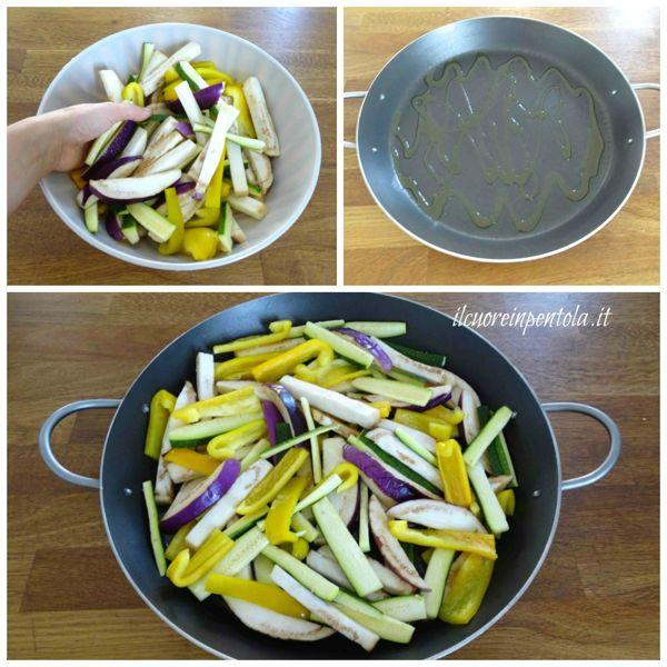 disporre verdure nella teglia