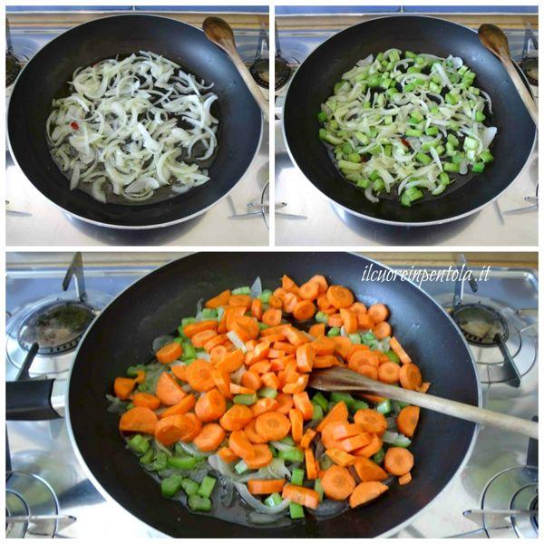soffriggere cipolla e aggiungere sedano e carote