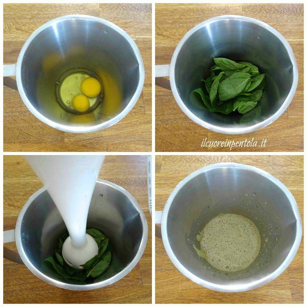 frullare uova e basilico