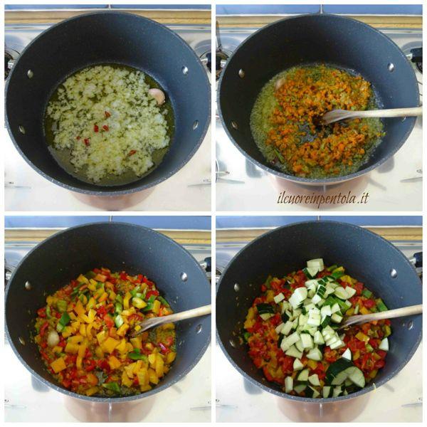 preparare soffritto e aggiungere peperoni