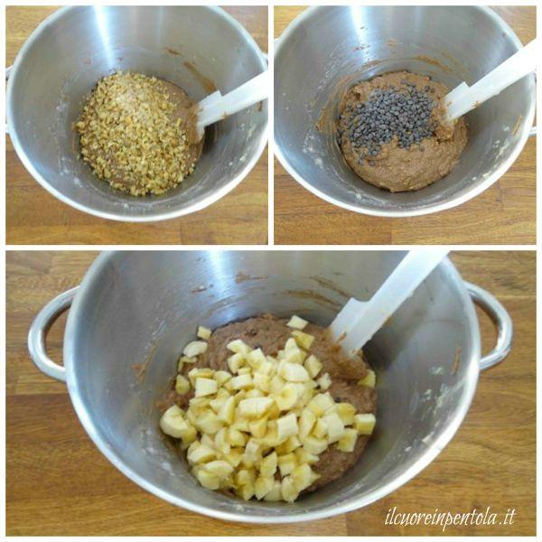 aggiungere noci, cioccolato e banane
