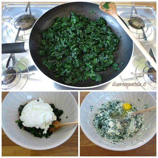 preparare ripieno ricotta e spinaci