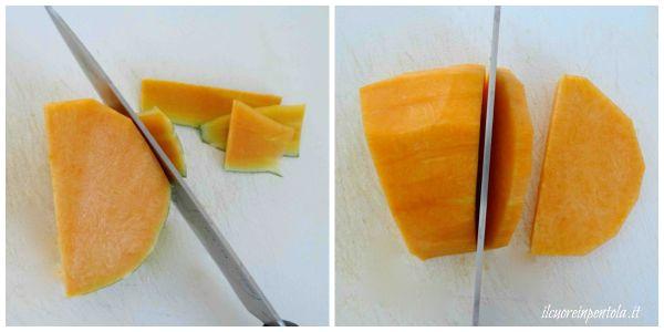 pulire e tagliare la zucca