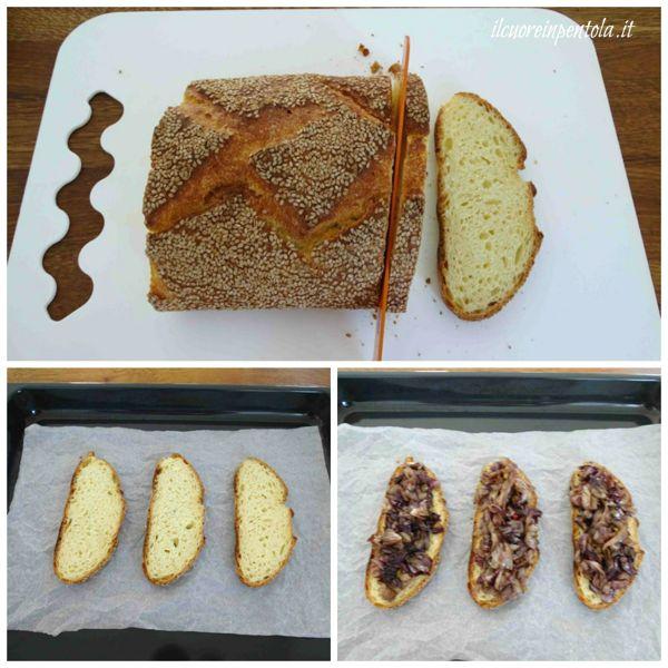 affettare pane e aggiungere radicchio