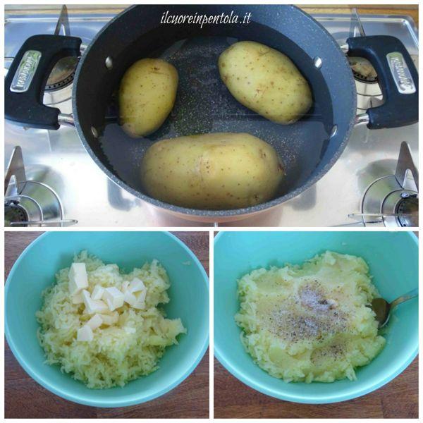 cuocere patate e schiacciarle