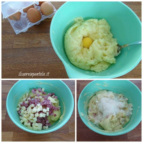 aggiungere uova e salumi