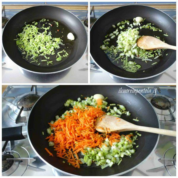 soffriggere porro sedano e carota