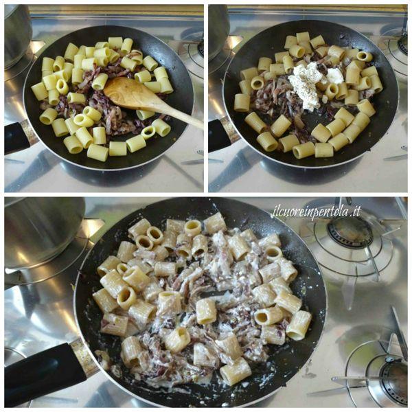 mantecare pasta con radicchio