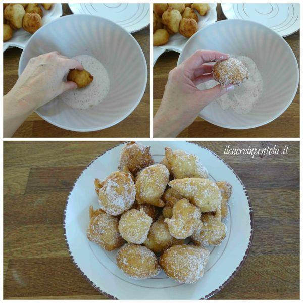 rotolare pettole nello zucchero