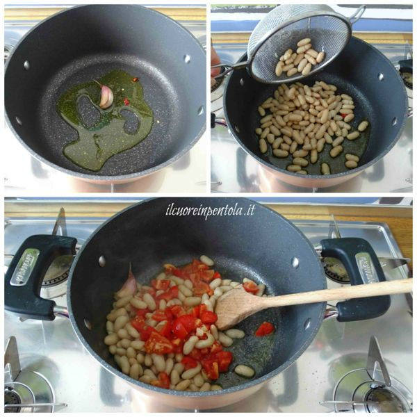 preparare soffritto e aggiungere fagioli