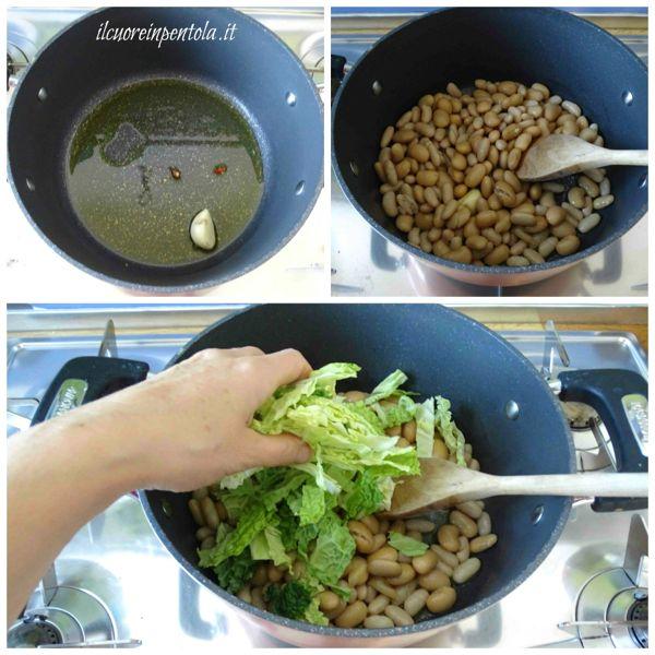 preparare soffritto e aggiungere fagioli e verza