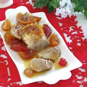 arrosto di maiale con mostrada di frutta